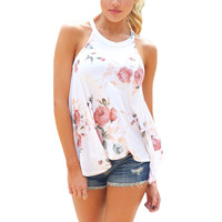 Summer Women Floral Printed Tank Top Round Neck Sleeveless Loose T-Shirt Sexy
