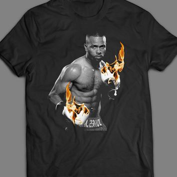 ROY JONES JR BOXING FLAMING GLOVES ART T-SHIRT