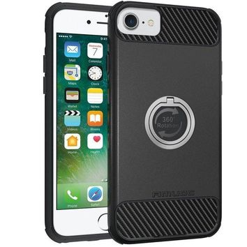 ONETOW iPhone 8 Case, iPhone 7 Case, Amuoc Heavy Duty Shockproof Anti-Scratch Case with 360 Degree Rotating Ring Grip kickstand for iPhone 7/6s/6 (Black)