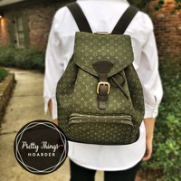 LOUIS VUITTON Montsouris GM Backpack (Olive Green & Brown Monogram)