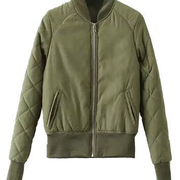 Green Padded Quilted Sleeve Bomber Jacket