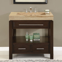 36-inch Single Bathroom Vanity Set with Travertine Stone Top & Sink