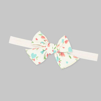 Baby Girl Headband Easter Pastel, Baby Girl Easter Outfit Pastel Color, Baby Spring Flowers Hearts Headband, Baby Kisses Bow Headband