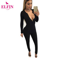 Women Jumpsuits Sexy V Neck Long Sleeve Bodycon Zipper Elasticity Slim Jumpsuit Black Rompers Overalls Playsuit Coverall LJ2282R