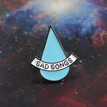 Sad Songs Brooch Blue Water Drop Sad Tears Simple Enamel Pin Boy Girl T-shirt Coat Backpack Badge Women Friends Accessories Gift