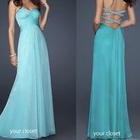 Elegant chiffon prom dress - blue green (4colors) from Your Closet