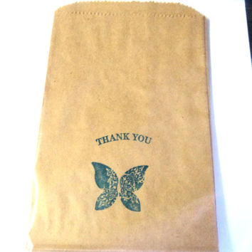 """10 Paper Bags, Thank You Butterfly,  Stamped in Blue, Brown Kraft 7.5"""" x 5"""" Packaging Supplies, Party Favor Bags"""