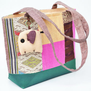 Cotton&silk Tote Bag Mixed colors With zipper On Side (CTB042)