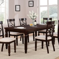 7 pc Maude II collection espresso finish wood dining table set with padded seats and cross back designs