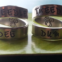 Tweedle dee tweedle dum two spiral rings to share with sister, friend, cousin bracelet made from aluminum 1100, hand stamped
