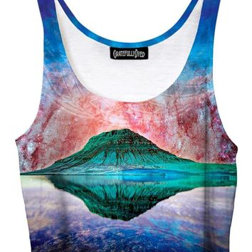 Alien Rockies Mountain Galaxy Crop Top