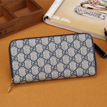 DCCK6HW Gucci' Unisex Purse Retro Classic Double GG Print Zip Long Section Wallet Handbag