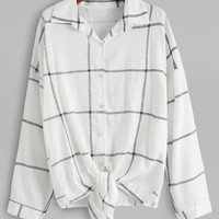 White Grid Drop Shoulder Knot Blouse