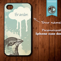 Personalized iPhone Case - Plastic or Silicone Rubber Monogram iPhone 4 4S Case Cover - K004