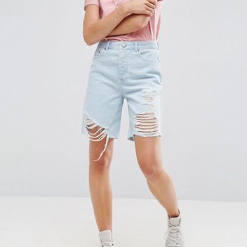 ASOS Denim Bermuda Shorts in Light Wash Blue With Rips at asos.com