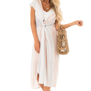 White Striped Short Sleeve Midi Dress with Front Knot Detail
