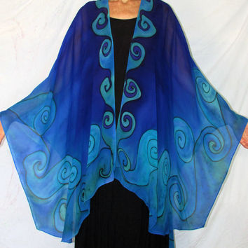 silk cape, The Goddess of Water, blue cape, silk ruana, sarong, resort wear, ceremonial wear, goddess wear, pagan, festival wear,silk jacket