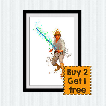 Luke Skywalker art poster Star Wars Luke Skywalker watercolor print Star Wars decor Home decoration Kids room wall art Child room decor W658