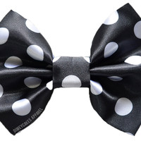Black Polka Dot Hair Bow