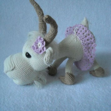 Goat  Lisa symbol 2015. Amigurumi crochet,  goat Crochet, Stuffed Doll, Toy, collectible, Ornament Stuffed Animal Desk, Decor.