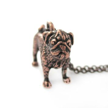 Realistic Life Like Pug Shaped Animal Pendant Necklace in Copper | Jewelry for Dog Lovers
