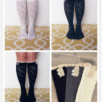 SALE - 3 Pairs of Knitted Lace Trim Buttons Boot Socks, Leg Warmers, Boot Topper, Knitted Boot Socks, Buttoned Boot Socks, BEST SELLER