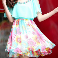 Short Sleeve Chiffon Sunflower Print Mini Dress