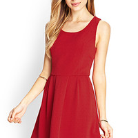 FOREVER 21 Textured Fit & Flare Dress Red