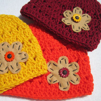 Fall Baby Hats for Triplets, 2 Weeks to 3 months, Photo Prop, Yellow, Orange and Maroon Flowered, Button Caps for Girls