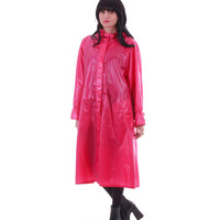 Vintage Pink Raincoat Bubblegum Long Hooded A-Line Tent Coat Slicker Plastic Winter Outerwear Womens Clothing Size Large XL
