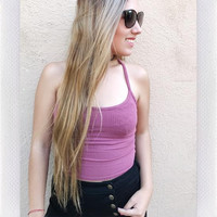 NEPTUNE BRAIDED BACK TOP- MAUVE