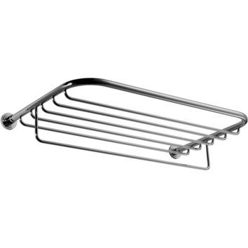 "Scala Wall 23.2"" Towel Rack Bath Storage Shelf With Towel Bar Rail, Solid Brass"