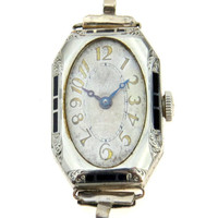 Art Deco Waltham Ladies Watch Chased Enameled Case