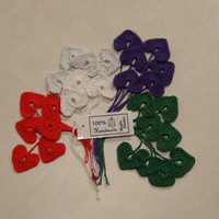 10 Small Crochet Hearts great for Decorations Ornaments by kolus79