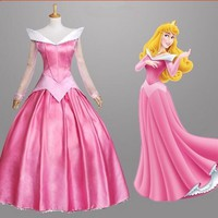 Free shipping adult women halloween party  S-XXL  pink princess aurora sleeping beauty cosplay Costume dress adult role-palying