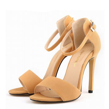 Nude Suede High Heels Ankle Wrap
