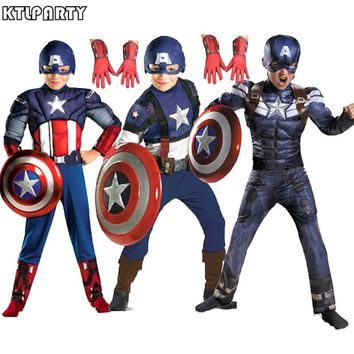 High quality child children captain america costume muscle halloween party costume masks gloves shield Avenger hero clothing
