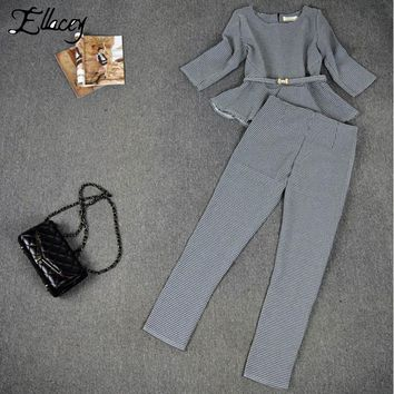 New 2016 Spring Autumn Fashion Women's Business Pants Suits Houndstooth Checker Pattern Ruffles Suits For Women 2 Pieces Set