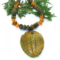 Trilobite Handmade Necklace, Polymer Clay Rhyolite Coral Unique Jewelry for Women