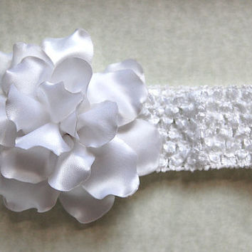 Baby Headband , Kanzashi Flower , Baby Crochet Headband ,white Flower