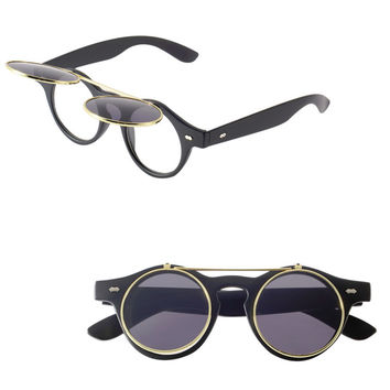 Classic Steampunk Goth Glasses Goggles Round Flip Up Sunglasses Retro Vintage Fashion Accessories Trend Round Eyeglass