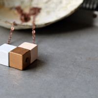 Geometric Inspired Wood Block Necklace, Simple Colorful Cube Trio, Hand Painted Wood Necklace, Chevron Necklace