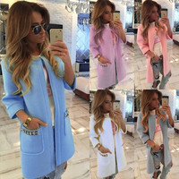 Lady Winter Fashion Trench Long Coat Outwear Cardigan Blazer Jacket Cardigan Top = 1930176324