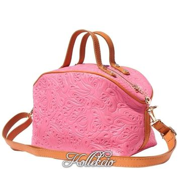 Pink Genuine Italian Leather MakeUp Bag with Long Strap