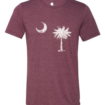 South Carolina State Flag White Tri Blend Crew T Shirt
