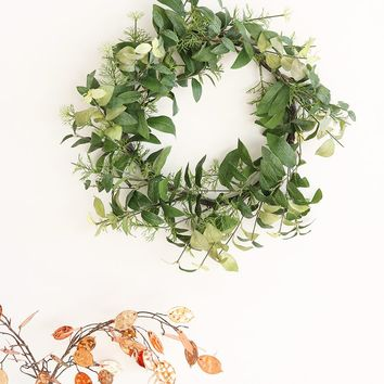 """Artificial Eucalyptus Leaf Wreath with Mixed Herbs in Two Tone Green - 22"""" Diameter"""