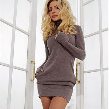 Fashion Women High collar Slim Fit Package Hip Bodycon Dress Top Knitwear