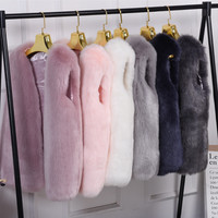 Warm artificial fur vest vest coat Pink