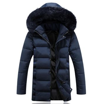 Plus size 4XL/5XL winter jacket Men Solid Long Down cotton Jacket Fashion Wadded Thicken Design warm fur Hooded coat Parkas