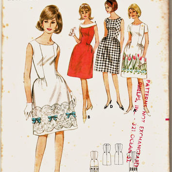 MOD 60's Butterick Pattern 3915 Side Insets Dress w Rolled Collar Option Sz 9 Uncut FF Vintage Party Dress Sewing Patterns Supplies